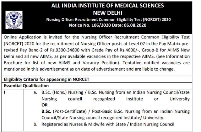 AIIMS Recruitment 2020 Nursing Officer