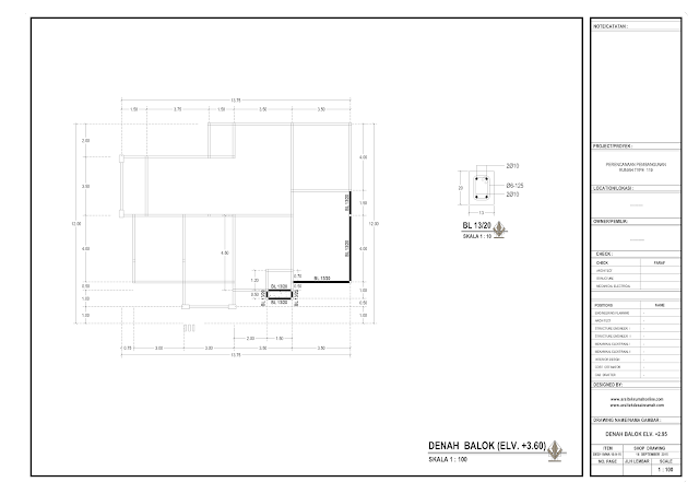Denah Balok Rumah Lantai 1  ELv + 3,6 m