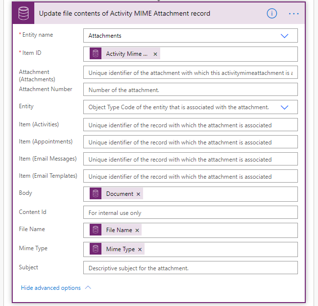 6. Update the Attachment record from the step above with file content from the Note attachment