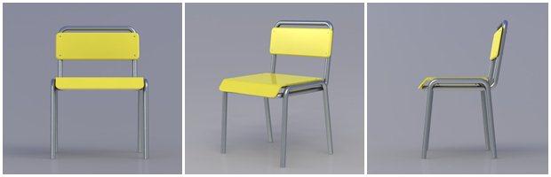 Diferentes perspectivas de la silla diseñada en Solidworks