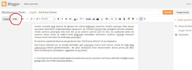 web tasarım, kod kutusu