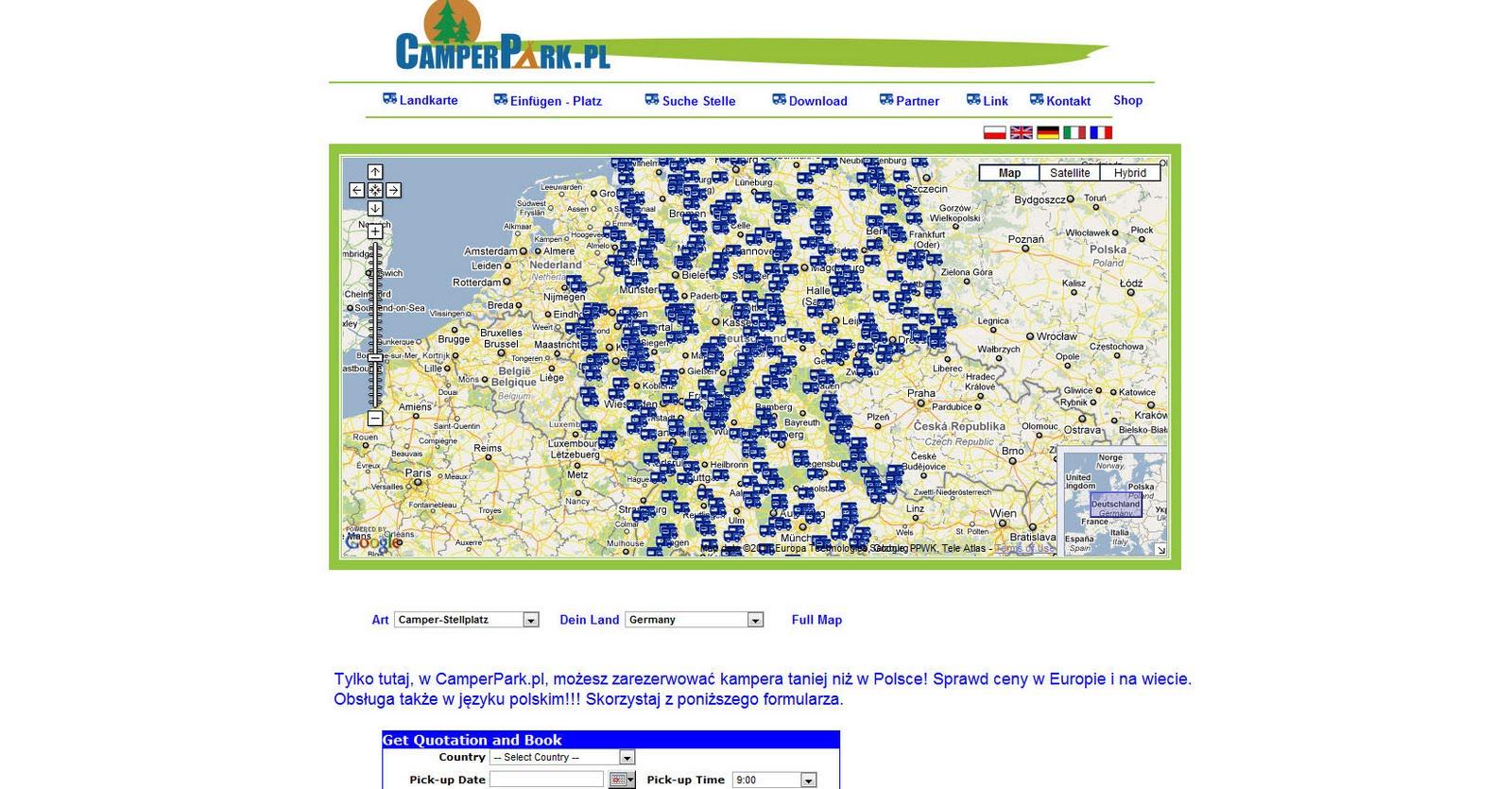 campingplätze deutschland karte Deutschlandkarte blog: CamperPark.PL   Campingplätze in