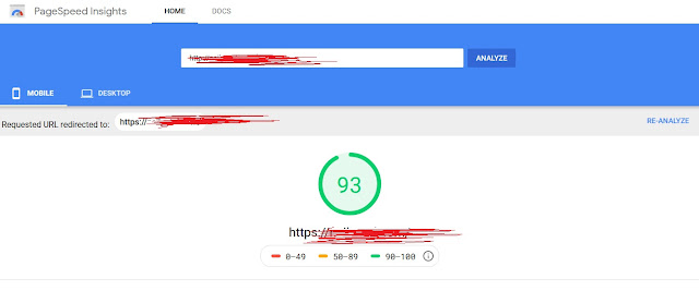 page speed test from page speed insight, page spped report
