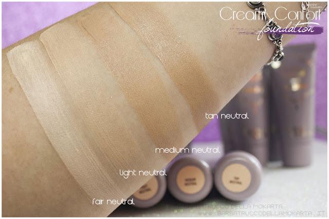 neutral swatches creamy confort foundation Fondotinta Neve Cosmetics