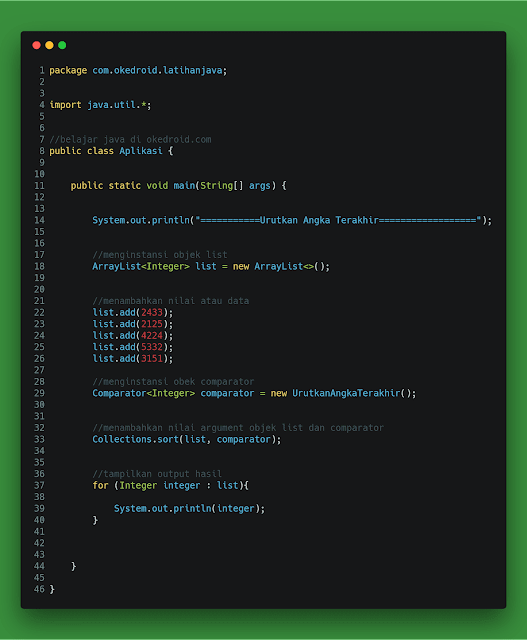contoh code kustom custom class urutkan angka digit angka terakhir interface comparator java 2