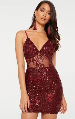 Burgundy strappy sheer panel sequin bodycon prom dress