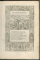 A page of printed verse surrounded by an elaborate border and a woodcut illustration showing the creation of the world.