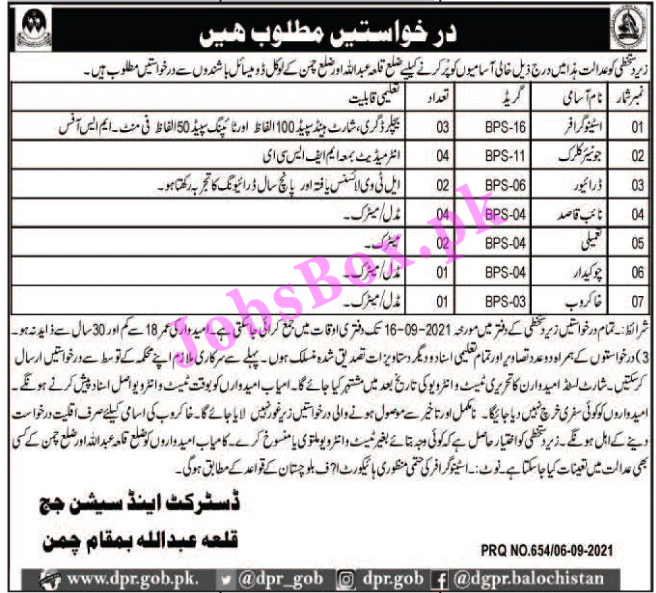 District and Session Courts Qila Abdullah Jobs 2021