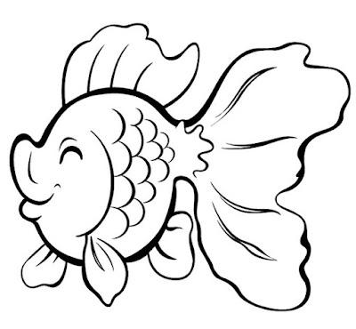 Gambar Sketsa Ikan Hias Lucu