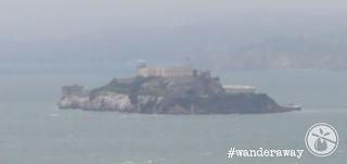 Alcatraz Island, as seen from Coit Tower, shrouded in San Franciscan fog