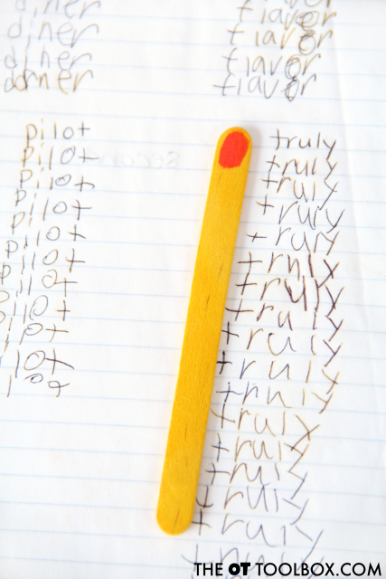 Use this handwriting spacing tool pointer stick to align columns of words or math problems when writing, perfect for kids who struggle with spatial awareness.