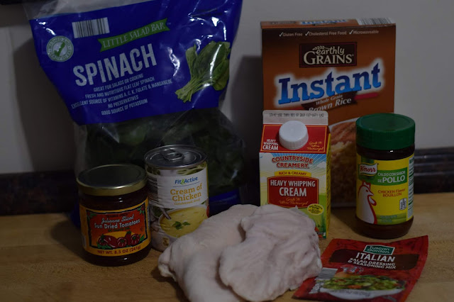 The ingredients needed to make the crockpot Italian chicken and rice.