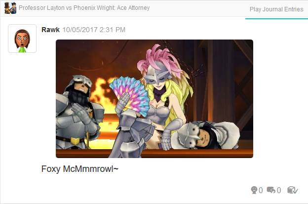 Professor Layton vs. Phoenix Wright Ace Attorney Foxy sitting on Treddon
