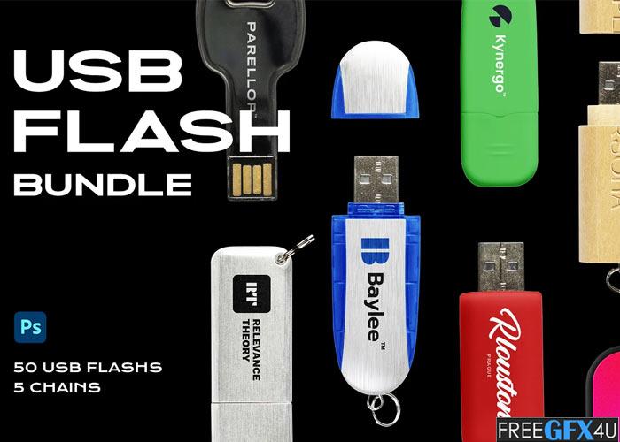 USB Flash Drive Mockup Template Logo