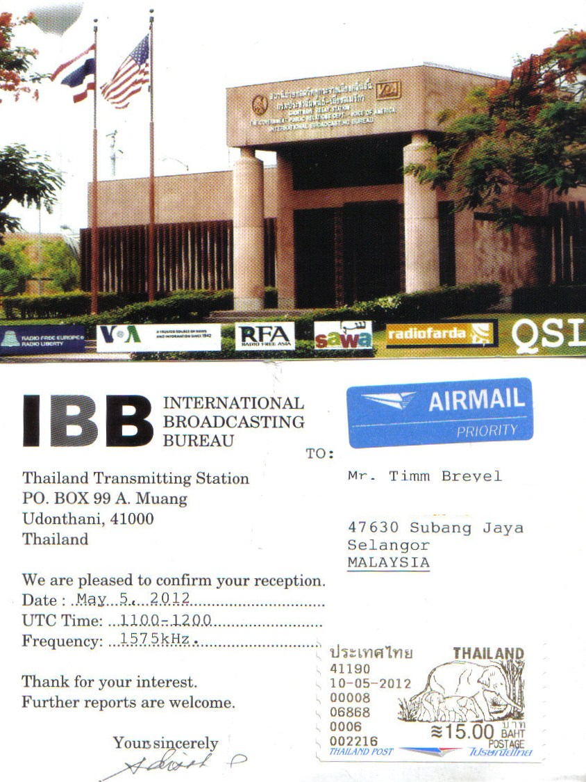 South East Asia Dxing Thai Medium Wave Stations Voice Transmitter Via Am Band Of America Voa Broadcasting Board Governors Us Government Sathaanii Witthayu Saranrom Radio Ministry Foreign Affairs