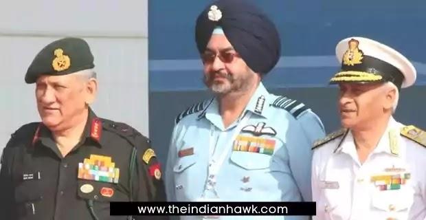 CDS Bipin Rawat, IAF Chief BS Dhanoa, Navy Chief Karambir Singh