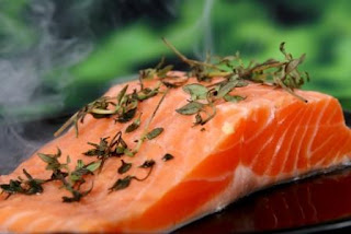 Essential component of diet high protein food salmon