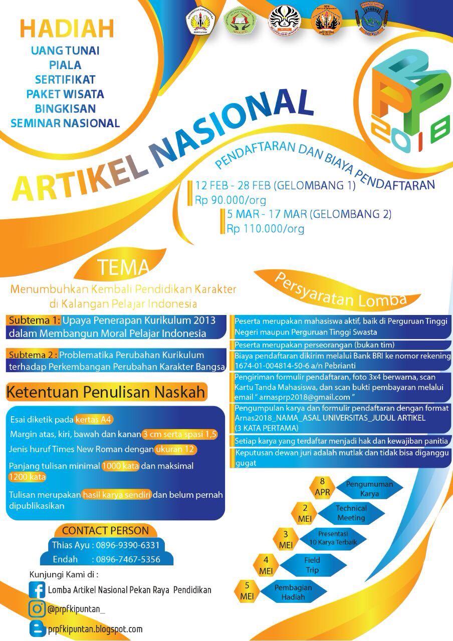 Lomba Artikel Nasional PRP 2018 FKIP Univ. Tanjungpura