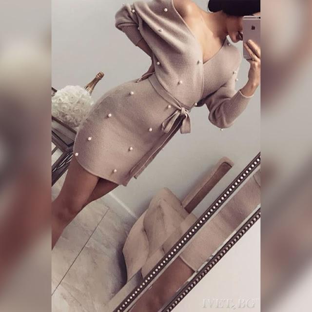 Πλεκτό  κοντό μπεζ φόρεμα ANASTASA BEIGE
