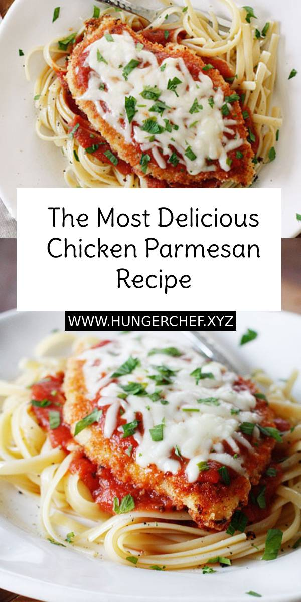 The Most Delicious Chicken Parmesan Recipe, made a bit healthier! Breaded chicken cutlets are baked, not fried yet the chicken is so moist and full of flavor. #chicken #chickenrecipe #parmesan #chickenparmesan #easychickenrecipe #easydinnerrecipe #dinner #dinnerrecipe #bestchickenrecipe #bestdinnerrecipe #bestrecipe #delicious #easydinner #maindish #dish #easyrecipe #recipeoftheday