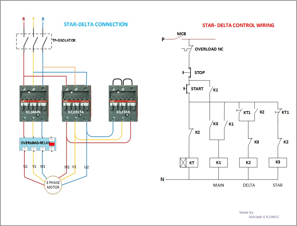 Star Delta Control Diagram With Motor Power Connection