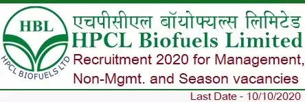 Recruitment in HPCL Biofuels 2020