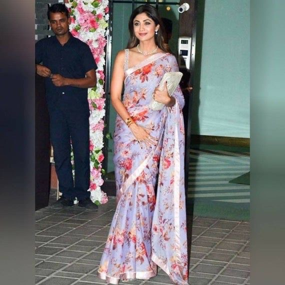 Shilpa Shetty in Floral Chiffon Saree