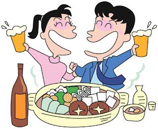 男女が鍋料理を食べながらビールを飲んで盛り上がっているイラスト