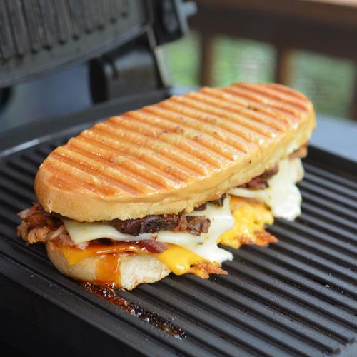Smashtastic hot-pressed bbq sub with brisket, pork and bacon