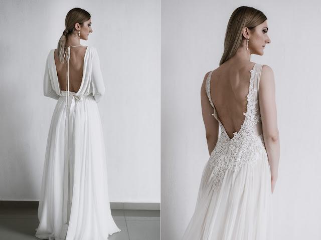 Przepiękne suknie ślubne z dekoltem na plecach.
