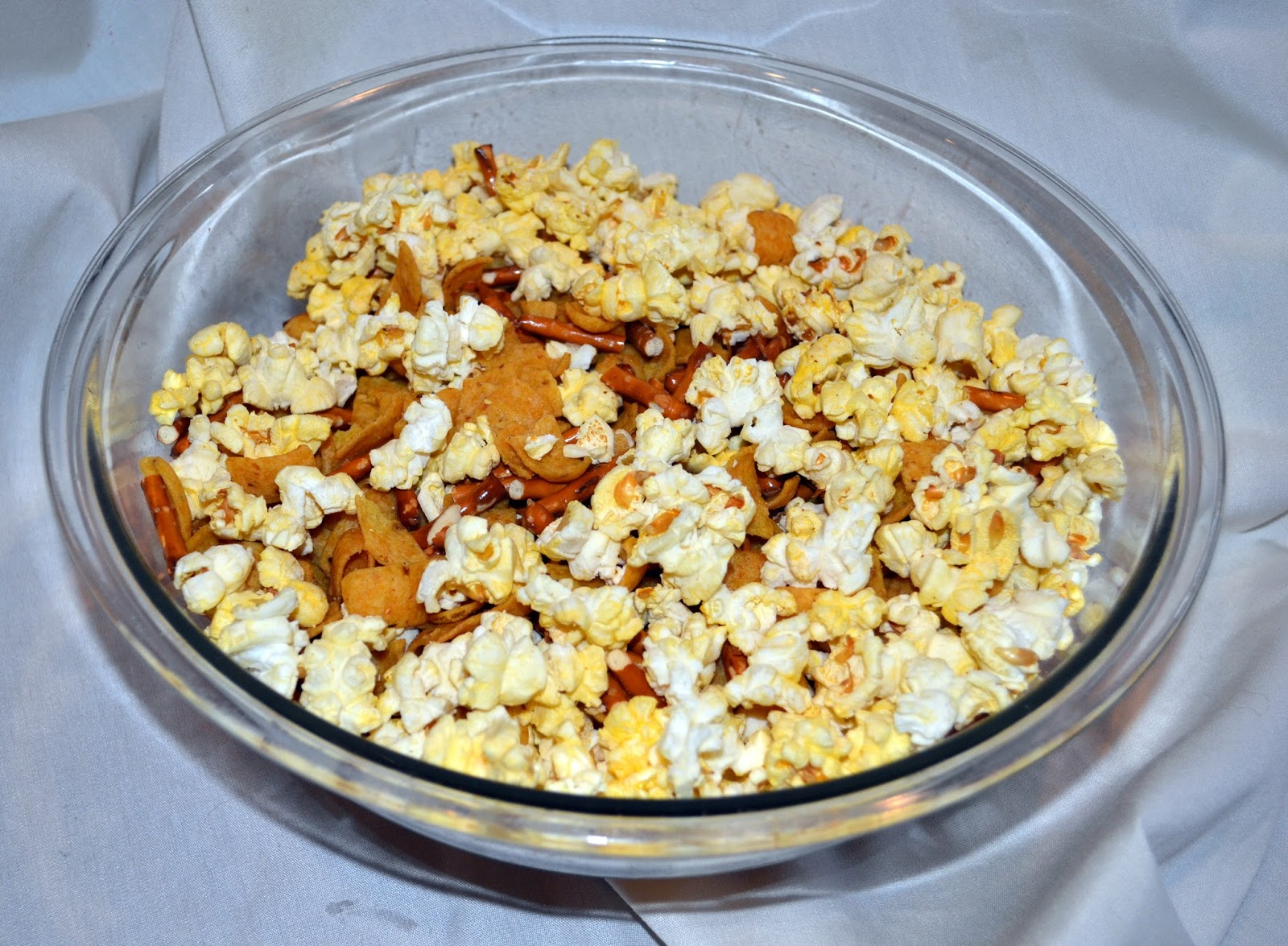 popcorn with chocolate, fritos and pretzels