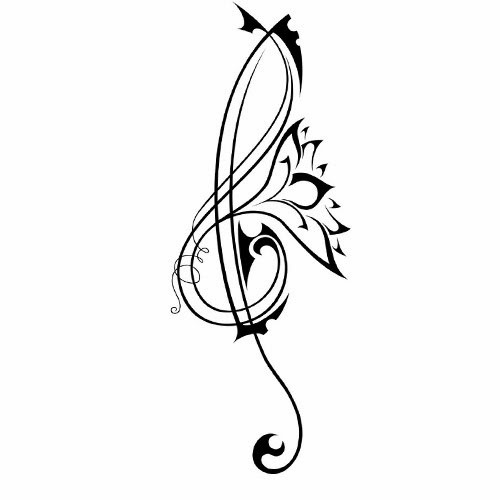 Music Sol key and lotus flower tattoo stencil
