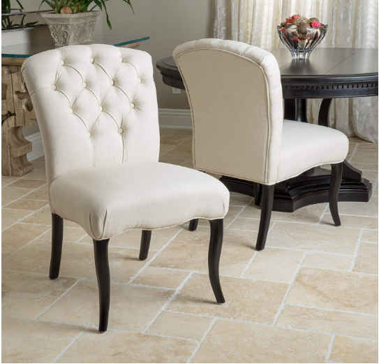 Jaelynn Linen Decorated Fabric Dining Chairs (Set of 2)