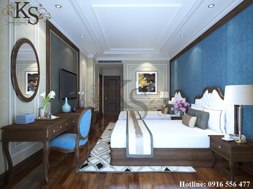 Hình ảnh: Giường ngủ đôi mang cùng kiểu thiết kế tạo nên sự đồng bộ cho không gian nội thất buồng ngủ đôi của khách sạn.