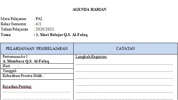 Agenda Harian Guru PAI Kelas 4 SD/MI Semester 1 Kurikulum 2013 Tahun 2020/2021 - Guru Krebet 3
