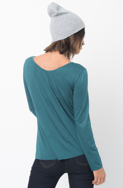 Shop for Hunter green Long Sleeves Cross Front Neckline Tee Jersey Tunic Online - $30 - on caralase.com