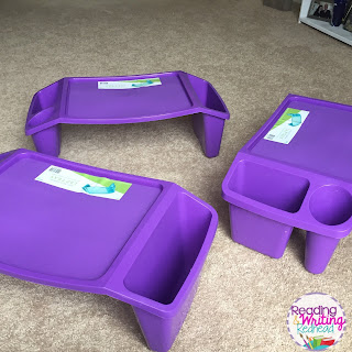 Purple lap desk provide pencil and supply storage in a flexible seating classroom