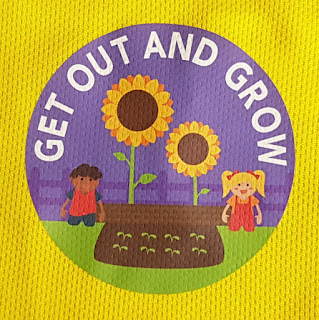 Sudocrem Get out and grow logo with smiling children and huge sunflower