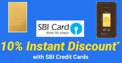 10% Instant Discount on Gold Coins & Bars with SBI Credit Cards