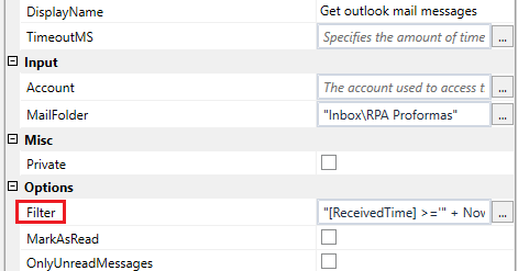 UIPath] How to use Filter in Get Outlook Mail Messages Activity