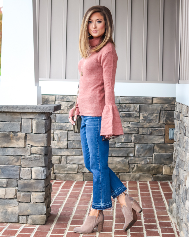 bell sleeve sweater topshop cropped jeans