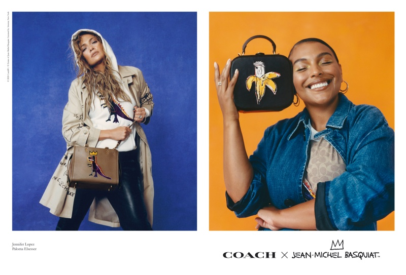 Jennifer Lopez and Paloma Elsesser pose for Coach x Jean-Michel Basquiat campaign.