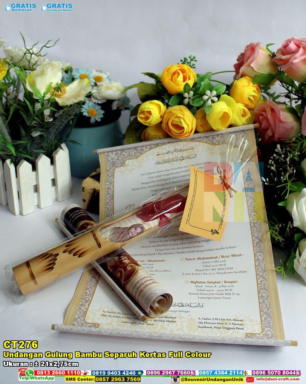 Undangan Gulung Bambu Separuh Kertas Full Colour  Souvenir Pernikahan