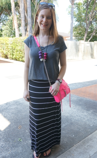 pink accessories neon mini MAC grey tee black striped maxi skirt)| AwayFromTheBlue