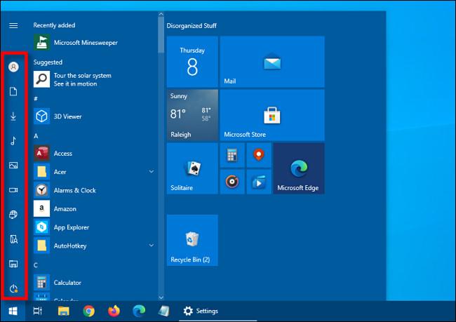 الشريط الجانبي للاختصار المطوي في قائمة ابدأ في Windows 10
