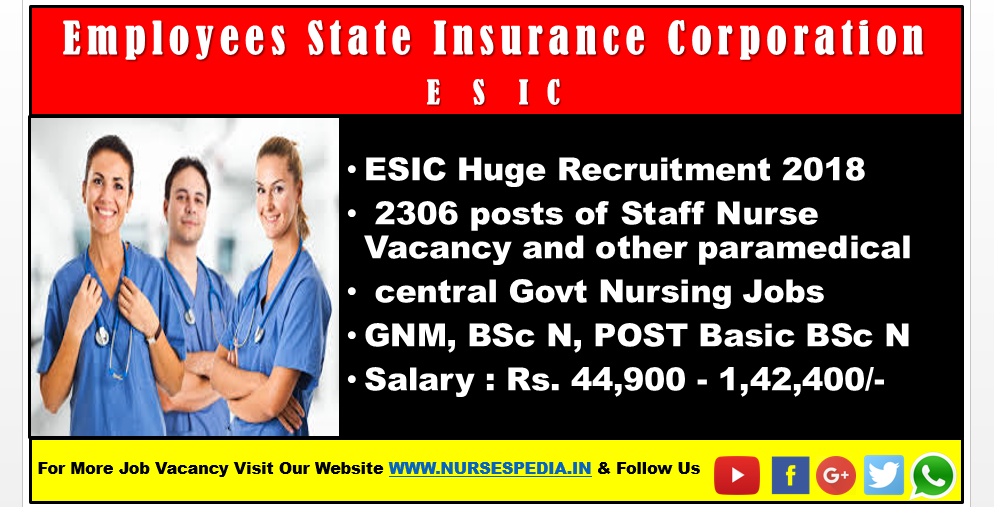 ESIC Huge Recruitment 2018: 2306 posts of Staff Nurse
