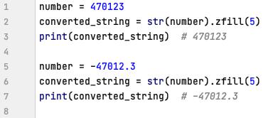 String method zfill() in Python