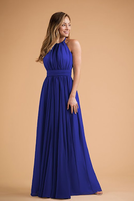 Dresses your bridesmaids will love and can wear again after the wedding - wedding dress ideas - blue halter neckline long dress - wedding ideas blog - K'Mich Weddings Philadelphia - jasminbridal.com