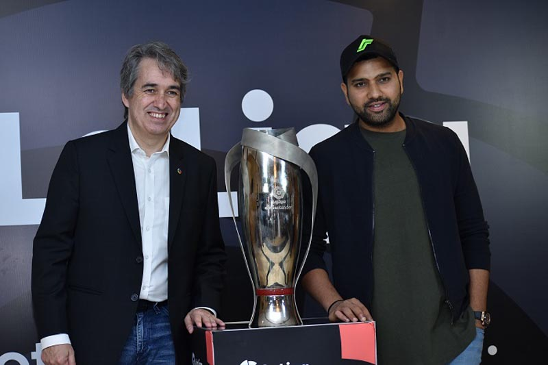 Jose Antonio Cachaza, Managing Director, LaLiga India and Rohit Sharma, the First Ever Brand Ambassador of LaLiga in India with the LaLiga Trophy