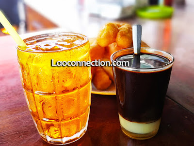 Lao ice tea, Lao coffee,  and fried bread dough
